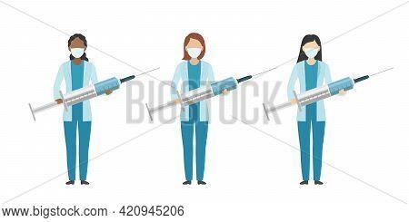 Multiethnic Group Of Doctors. Cartoon Style. Vector Illustration.