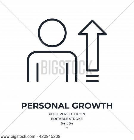 Personal Growth And Development Concept Editable Stroke Outline Icon Isolated On White Background Fl