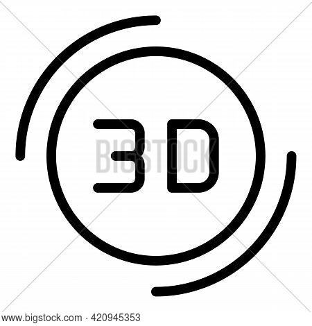 3d Visualization Icon. Outline 3d Visualization Vector Icon For Web Design Isolated On White Backgro