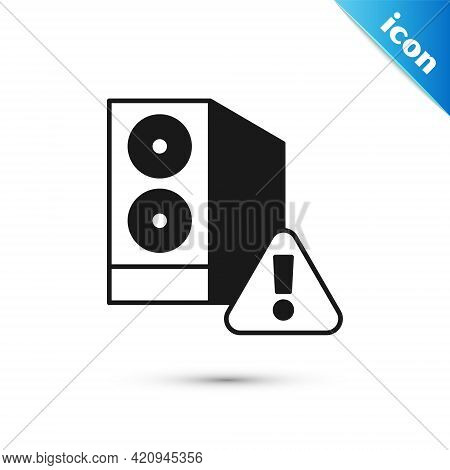 Grey Case Of Computer With Exclamation Mark Icon Isolated On White Background. Computer Server. Work