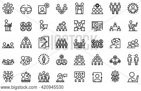 Colleague Icons Set. Outline Set Of Colleague Vector Icons For Web Design Isolated On White Backgrou