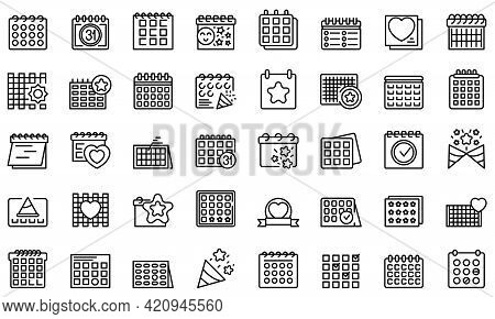Event Planner Icons Set. Outline Set Of Event Planner Vector Icons For Web Design Isolated On White
