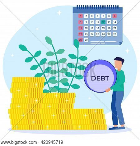 Flat Style Vector Illustration. A Businessman Lifts A Debt Load Up The Coin Ladder. The Concept Of C