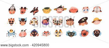 Avatars Of Abstract Funny Crazy Characters With Different Emotions. Set Of Cute Whimsical Face Icons