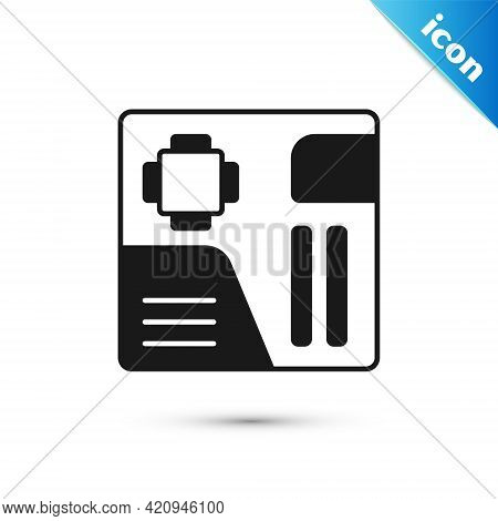 Grey Electronic Computer Components Motherboard Digital Chip Integrated Science Icon Isolated On Whi