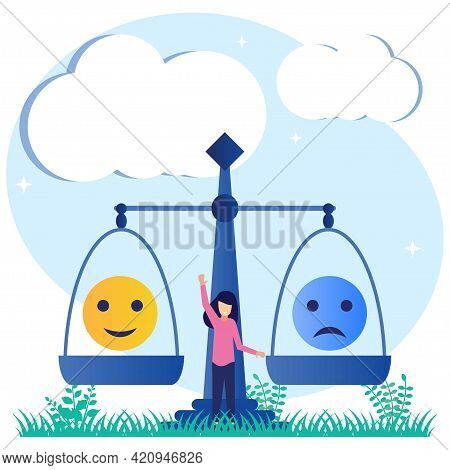 Vector Illustration Of Emotional Balance As A Choice Of Good Feelings Over Bad Moods. Women With Tig