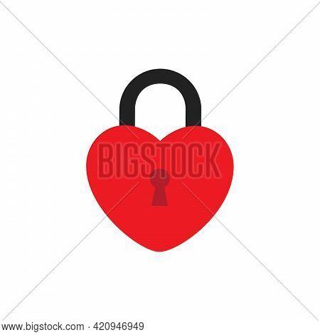 Icon Of Locked Heart Shape Lock On White Background. Locked And Unlocked Heart Shape. Flat Design