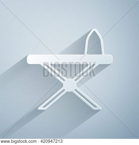 Paper Cut Electric Iron And Ironing Board Icon Isolated On Grey Background. Steam Iron. Paper Art St