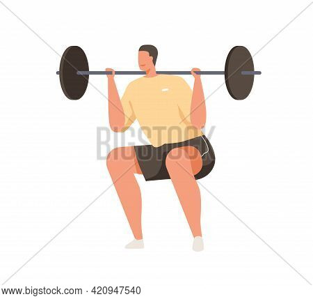 Strong Man With Bending Knees Doing High Bar Squat, Lifting Barbell. Strength Exercise With Added We