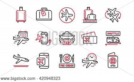 Airport Line Icons Set. Boarding Pass, Baggage Claim, Arrival. Connecting Flight, Tickets, Pre-order