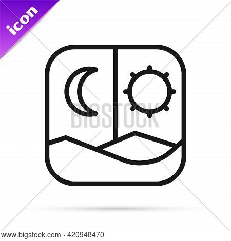 Black Line Ramadan Fasting Icon Isolated On White Background. Fast Day And Night. Religious Fasting.