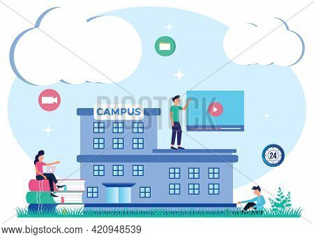 Vector Illustration Of Flat Isometric Isolated On White Background. Concept Of A Student On A Univer