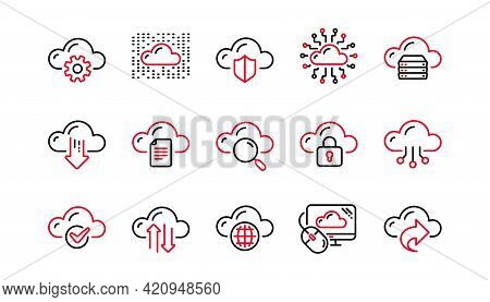 Computer Cloud Icons. Hosting, Computing Data And File Storage. Computer Sync Technology Linear Icon