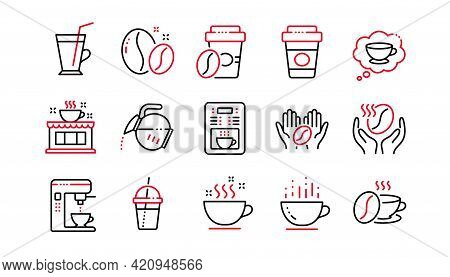 Coffee Line Icons. Beans, Hot Cocktail And Coffee Maker Machine. Espresso Cup, Cappuccino Line Icons