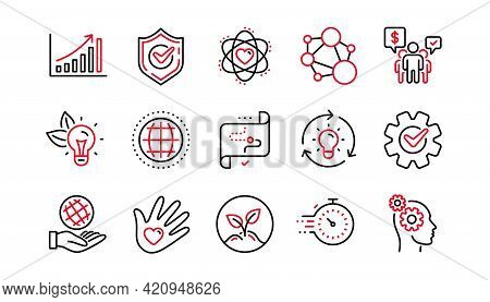 Core Values Line Icons. Integrity, Target Purpose And Strategy. Helping Hand, Social Responsibility,
