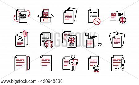 Documents Line Icons Set. Contract Agreement, Passport, Copy Files. Cv Interview, Documents Workflow