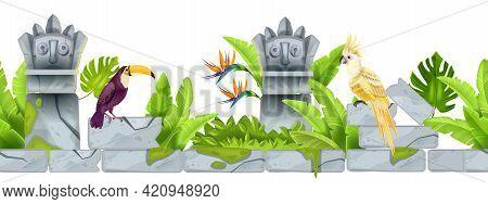 Jungle Stone Seamless Border, Vector Tropical Cartoon Background, Parrot, Toucan, Totem Face, Paradi