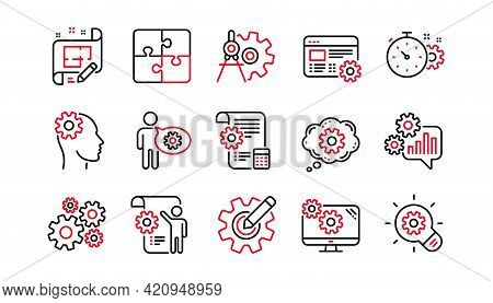 Engineering Line Icons. Puzzle, Dividers Tool And Architect Plan. Engineer Linear Icon Set. Linear S