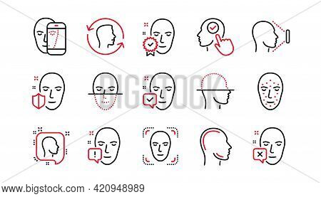 Face Recognize Line Icons. Biometrics Detection, Face Id And Scanning. Identification Linear Icon Se