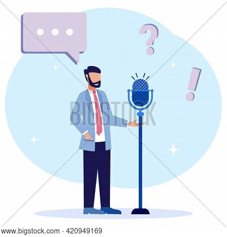 Flat Style Vector Illustration Of Political People Speech Concept. Democratic Election Campaign. Pol