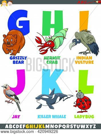Cartoon Illustration Of Educational Colorful Alphabet Set From Letter G To L With Comic Animal Chara