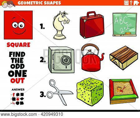 Cartoon Illustration Of Square Geometric Shape Educational Odd One Out Task For Children