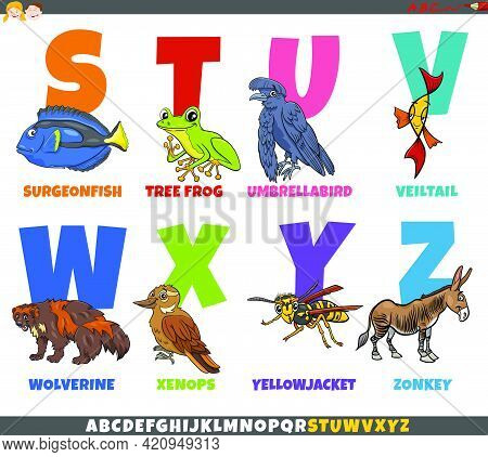 Cartoon Illustration Of Educational Colorful Alphabet Set From Letter S To Z With Funny Animal Chara