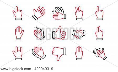 Hand Gestures Line Icons. Handshake, Clapping Hands, Victory. Horns, Thumb Up Finger, Drag And Drop