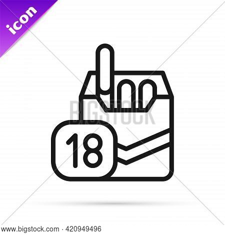 Black Line Cigarettes Pack Box Icon Isolated On White Background. Age Limit For Cigarettes. Cigarett