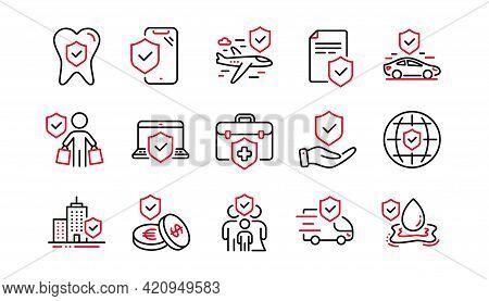 Insurance Line Icons Set. Family Care, Risk, Help Service. Car Accident, Flood Insurance, Flight Pro