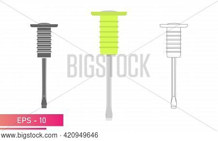 Set, Chisel On Metal With A Comfortable Soft Handle. Linear, Solid And Realistic Design. On A White