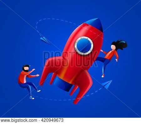 People Fly Around Launching Rocket. Startup, Project Launch Or Innovation Concept.