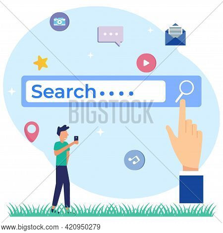 Modern Vector Illustration Search Engine As A Web Browser Tool For Finding Information. Search Onlin