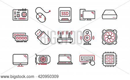 Computer Device Line Icons. Motherboard, Cpu And Laptop. Ssd Memory Linear Icon Set. Linear Set. Qua