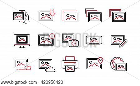 Photo Line Icons. Download Picture, Print Image, Photo Camera Icons. Edit Image, Presentation And Ph