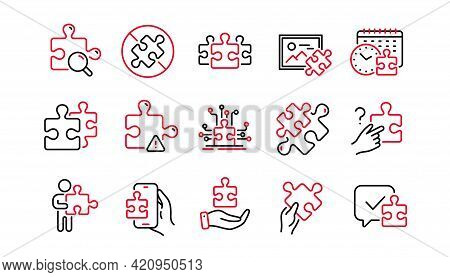 Puzzle Line Icons. Business Strategy, Jigsaw Challenge Time, Puzzle Pieces Icons. Solution, Decide O