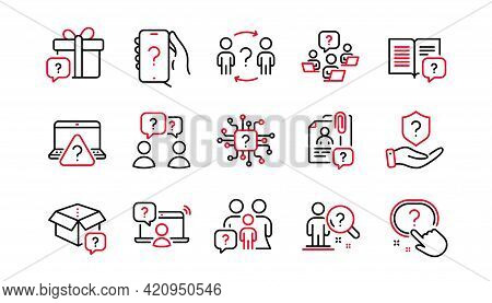 Questions Line Icons. Problem Solve, Artificial Intelligence Computer, Phone With Question Mark. Qui