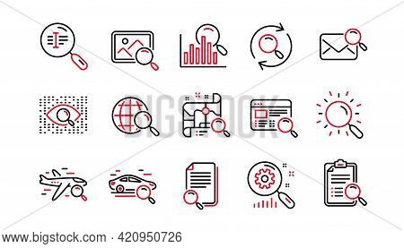 Search Line Icons. Indexation, Artificial Intelligence And Car Rental. Search Images Linear Icon Set