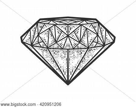 Diamond Brilliant Sketch Engraving Vector Illustration. T-shirt Apparel Print Design. Scratch Board