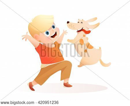 Boy And Dog Best Friends Playing Together, Puppy Jumping Into Owner Hands. Happy Kid And Puppy Carto