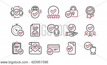 Approve Line Icons Set. Interviewed, Accepted Document, Approved Verification. Quality Check, Protec