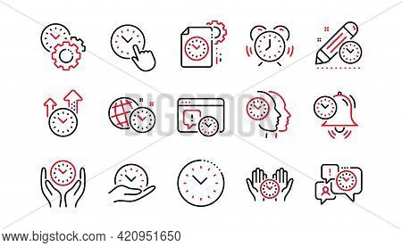 Time Management Line Icons. Alarm Clock, Timer Plan And Project Deadline Signs. Countdown Clock And