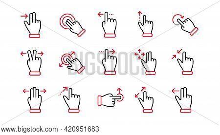 Touchscreen Gesture Line Icons. Hand Swipe, Slide Gesture, Multitasking Icons. Touchscreen Technolog