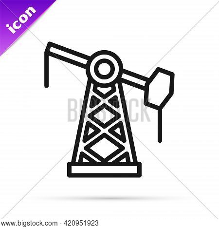 Black Line Oil Pump Or Pump Jack Icon Isolated On White Background. Oil Rig. Vector