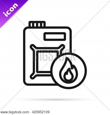 Black Line Canister For Motor Machine Oil Icon Isolated On White Background. Oil Gallon. Oil Change