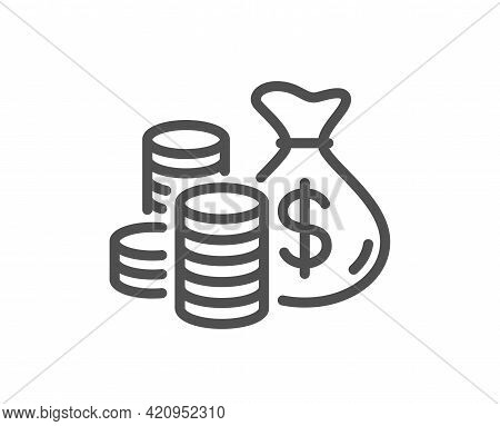Coins Bag Line Icon. Cash Money Sign. Income Savings Symbol. Quality Design Element. Linear Style Co