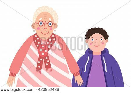 Portrait Of Funny Family Vector Illustration. Cute Grandmother With Her Grandson On Light Isolated B