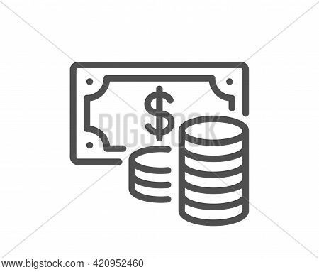 Coins Banknote Line Icon. Cash Money Sign. Business Income Symbol. Quality Design Element. Linear St