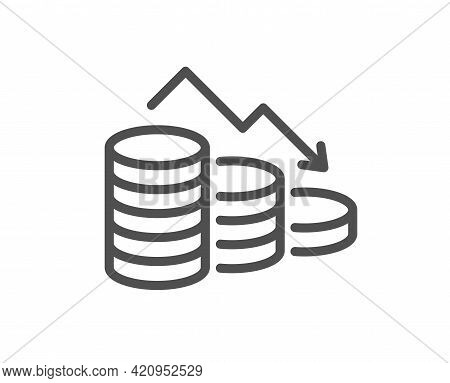 Money Loss Line Icon. Financial Crisis Sign. Business Bankruptcy Symbol. Quality Design Element. Lin