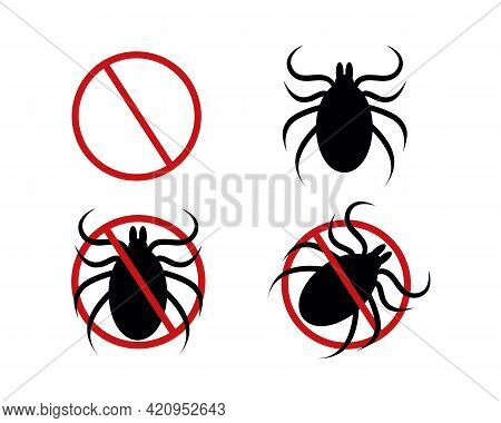 Stop Mite Icon Set. Red Forbidden Sign, Tick Silhouette And Two Variations Of Pictogram For Insect S